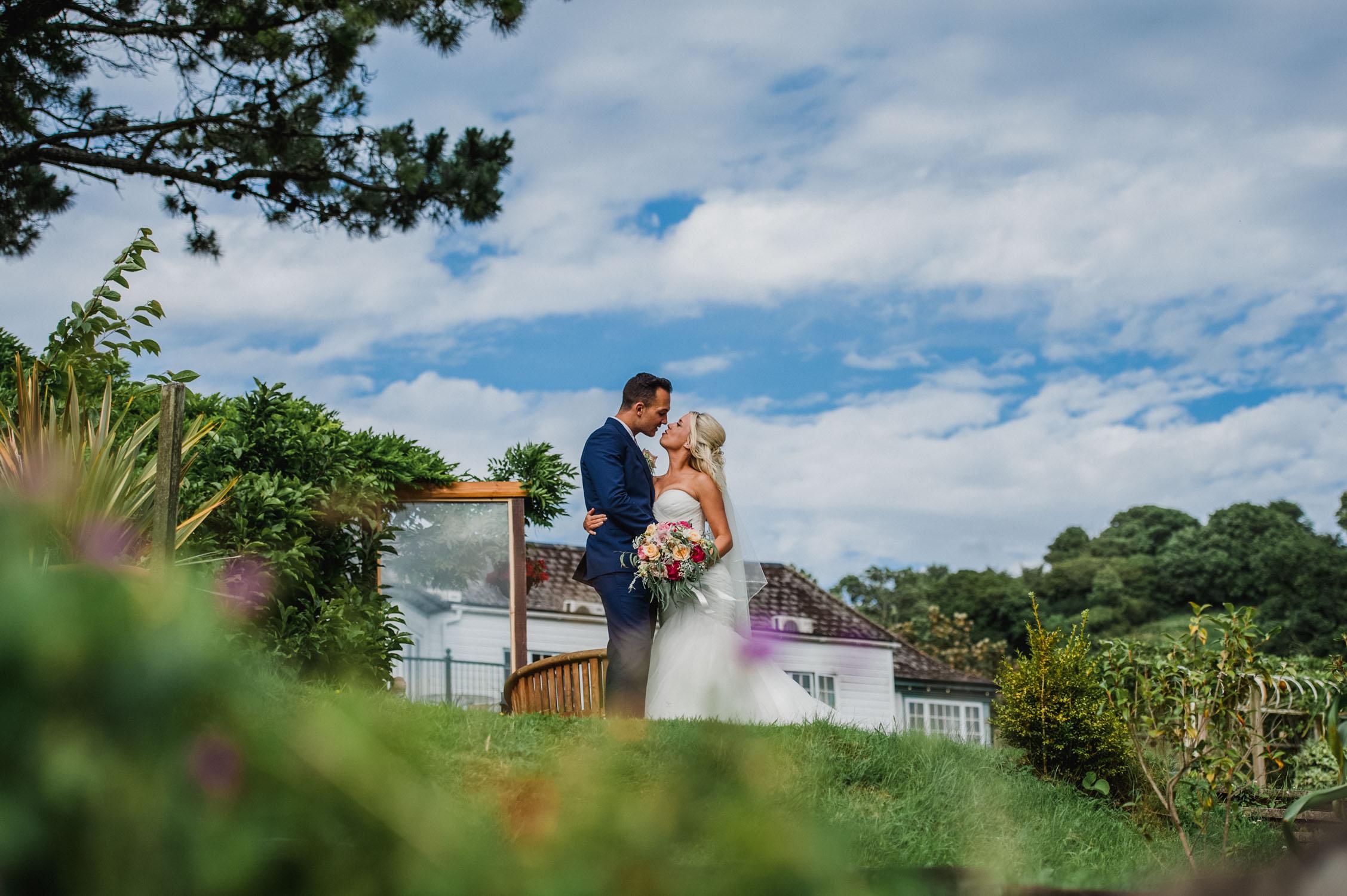 bride and groom at lavender house on dartmoor devon, devon wedding photographer