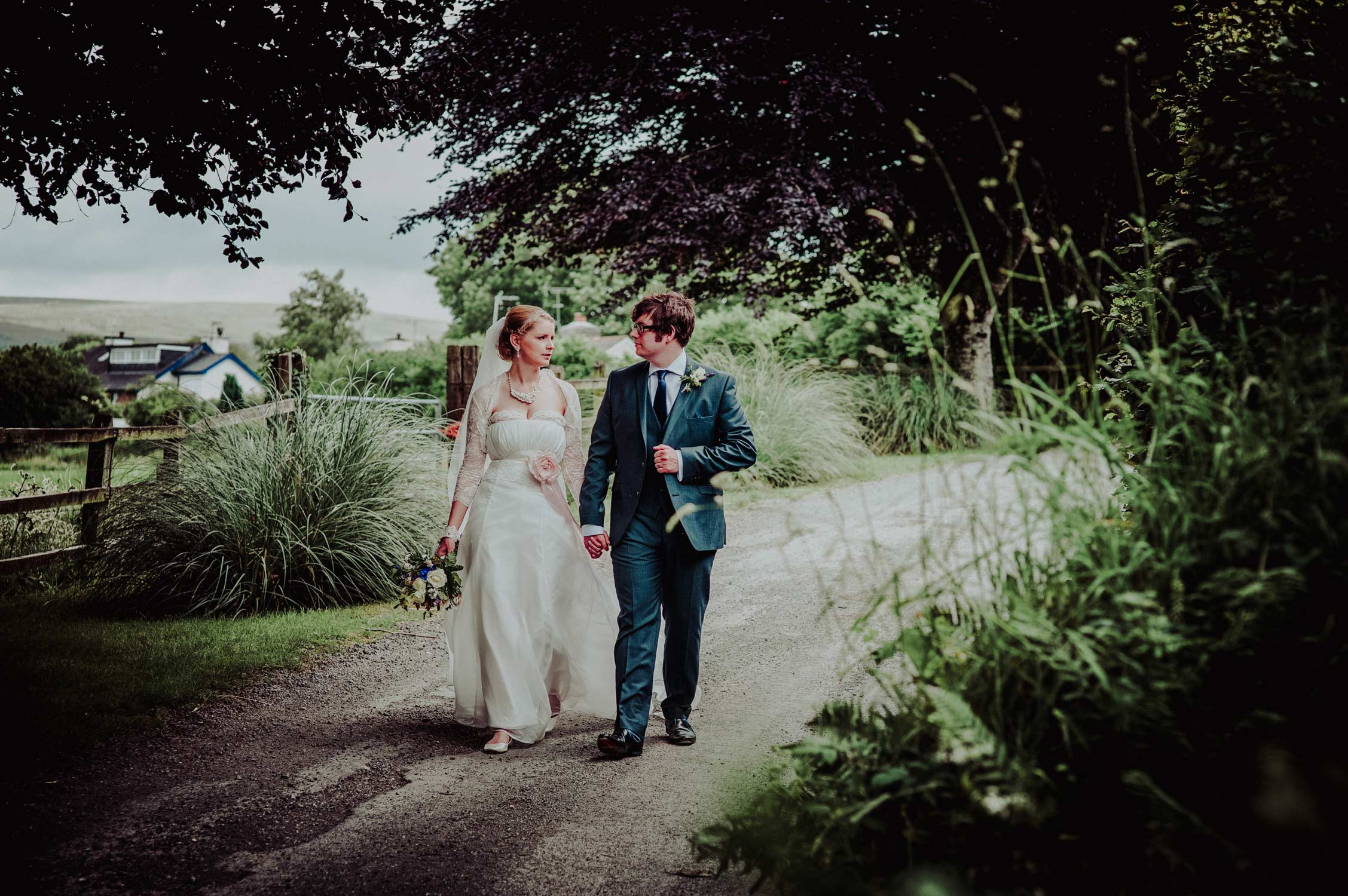 bride and groom at little bidlake farm wedding in devon, wedding photography in devon
