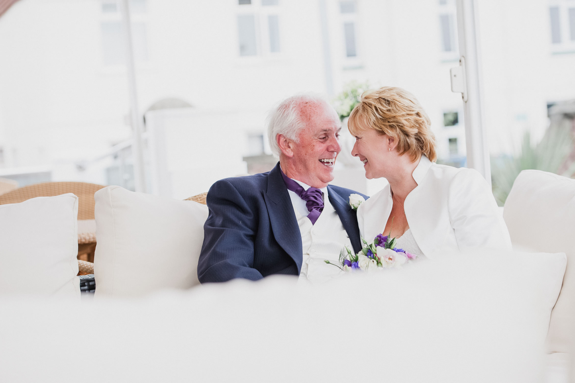 mature bride and groom at the palace hotel in paignton, devon