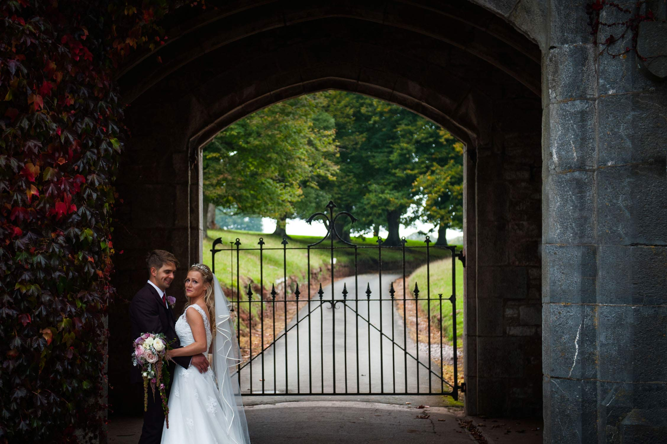 bride and groom at powderham castle wedding, devon wedding photographer